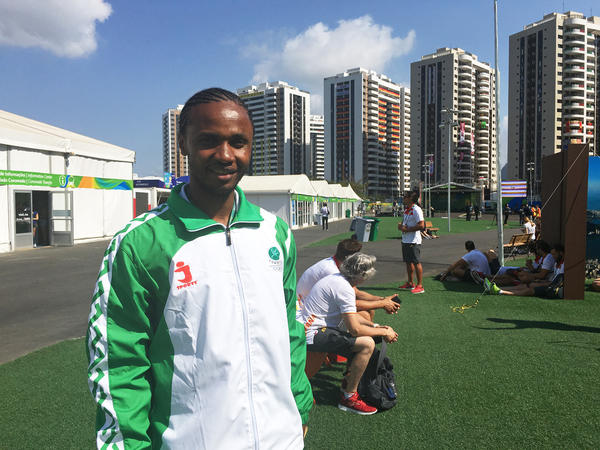 Maoulida Daroueche of the Comoros will compete Monday in the 400-meter hurdles. Daroueche, 25, had a tough life as a kid in the Comoros, but now resides in France and is competing in his second Olympics.