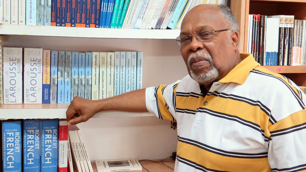 Jan Mapou in his bookstore, Libreri Mapou, in Miami's Little Haiti.