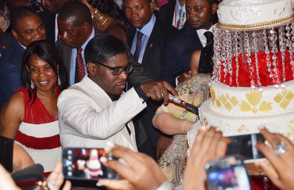 Teodoro Nguema Obiang Mangue, the vice president of Equatorial Guinea and son of the president, cuts his birthday cake in 2010. The Justice Department says he went on a $100 million shopping spree in the U.S. with money stolen from his homeland. Some $30 million was recovered.
