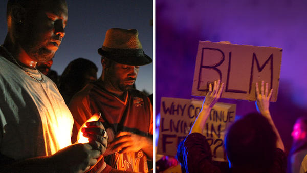 L: Mourners and activists hold a vigil during a rally in El Cajon, Calif. on Sept. 28, in protest of the police shooting the night before. R: A protester holds a Black Lives Matter placard during a march on Sept. 30 in El Cajon, Calif., in reaction to the fatal police shooting of an unarmed black man.