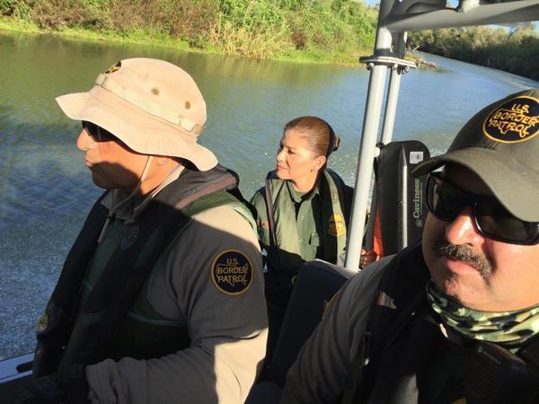Border Patrol Agents Omar Puente, Marlene Castro and Guillermo Mata on patrol on the Rio Grande near McAllen, Texas.