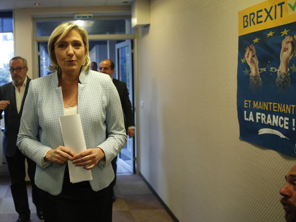 French far-right leader Marine Le Pen arrives to make a statement on Donald Trump's election as president in Nanterre, outside Paris, on Wednesday. She is considered one of the leading candidates in France's 2017 presidential elections.