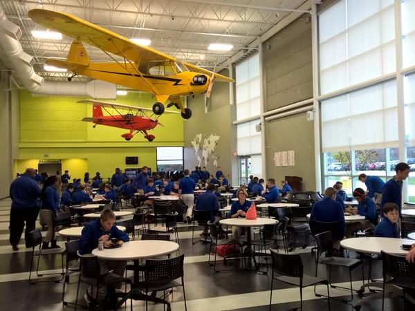 Students gather in the cafeteria at West Michigan Aviation Academy just outside of Grand Rapids, Mich.