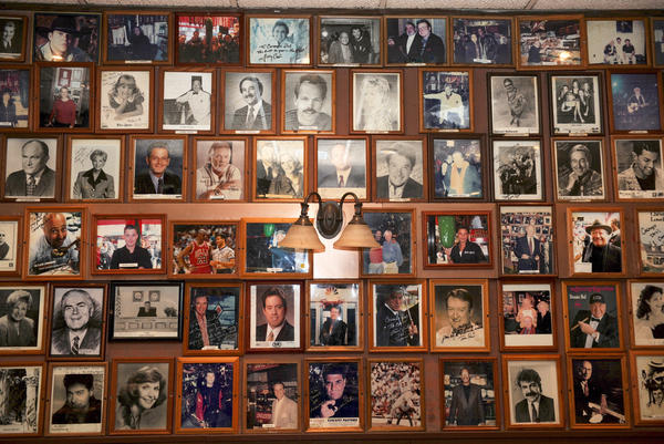 Pictures of movie stars and famous people who have dined at the deli hang on the restaurant's wall.