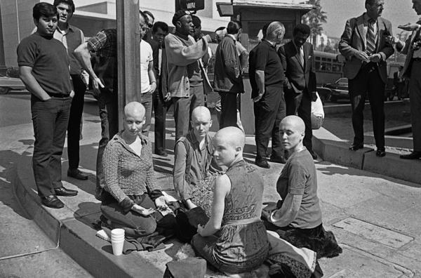 "Four young female members of the ""Manson Family,"" with their heads shaved, kept a vigil throughout the trial in which Charles Manson and three women were convicted in 1971."