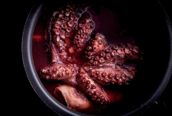 "Boiled octopus, a recipe for ""reliably tender, flavorful octopus that can be used as it is, or as a basis for fried or grilled octopus dishes,"" write Richard Horsey and Tim Wharton in <em>Ugly Food</em>. ""Octopus is also totally sustainable, very economical and incredibly versatile — the various methods of preparation and cooking lend it subtly different flavors,"" says Wharton."