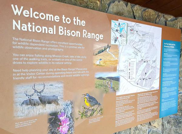 An informational sign at the entrance of the National Bison Range.