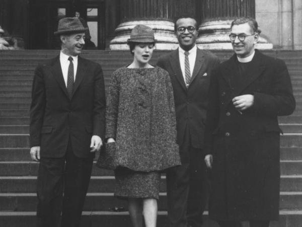 Jazz singers, Dave Lambert (left), Annie Ross and Jon Hendricks with Canon L. John Collins on the steps of St Paul's Cathedral in London in 1959. Jon Hendricks died on November 22 at the age of 96.