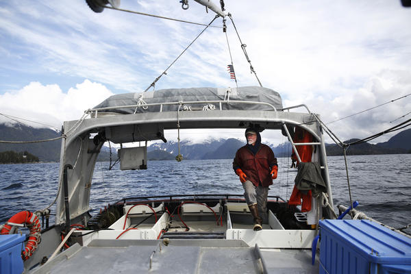 "Charlie Wilber, 69, on the Alexa K, a 45-foot steel-hulled troller, ""heading out into the briny deep!"""