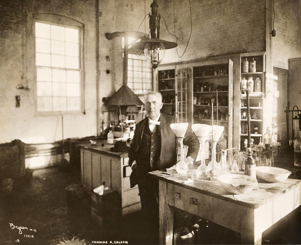 Inventor Thomas Edison stands in his chemistry lab in West Orange, N.J., in 1904.