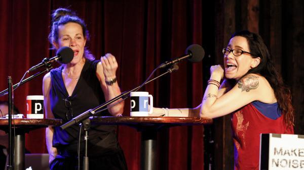 Lili Taylor and Janeane Garofalo on <em>Ask Me Another. </em>
