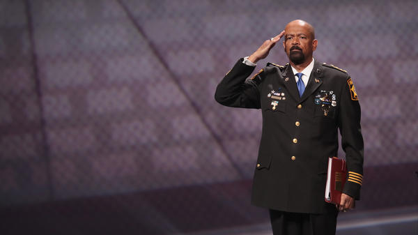 David Clarke Jr., seen here at a National Rifle Association conference in Atlanta earlier this year, resigned his position as sheriff of Milwaukee County on Thursday.
