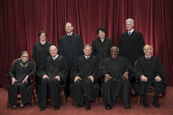 In this June 1, 2017, file photo, the justices of the U.S. Supreme Court gather for an official group portrait. (J. Scott Applewhite/AP)