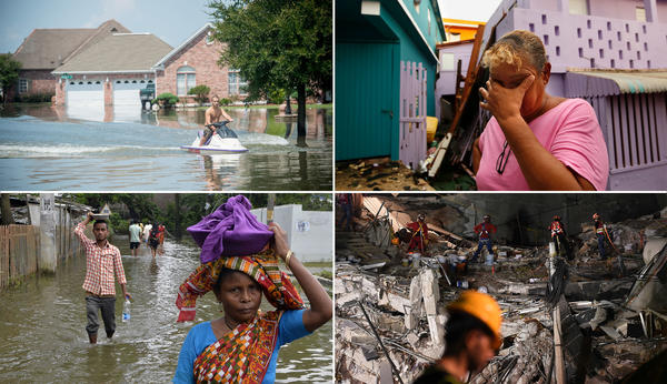 Clockwise from top left: Flooding from Hurricane Harvey in Texas. A victim of Hurricane Maria in Puerto Rico. Rescuers search for survivors after the earthquake in Mexico. Monsoon flooding in India.