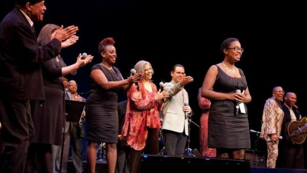Cecile McLorin Salvant at the 2010 Thelonious Monk International Jazz Competition, onstage with Al Jarreau, Jane Monheit, Terence Blanchard, Ledisi, Kurt Elling, Dee Dee Bridgewater, and Kevin Eubanks.