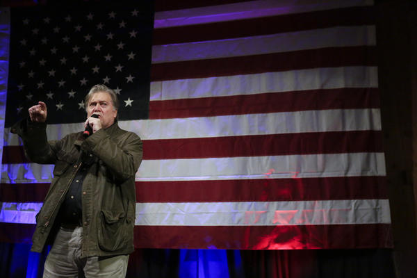Former White House strategist Steve Bannon speaks at a rally for Roy Moore, Monday, Sept. 25, 2017, in Fairhope, Ala. (Brynn Anderson/AP)