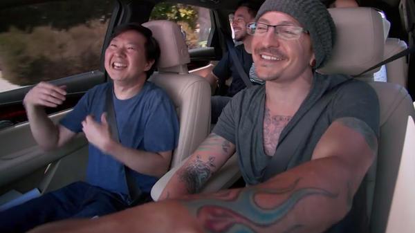 Ken Jeong (left) with Chester Bennington in Linkin Park's episode of <em>Carpool Karaoke</em>.