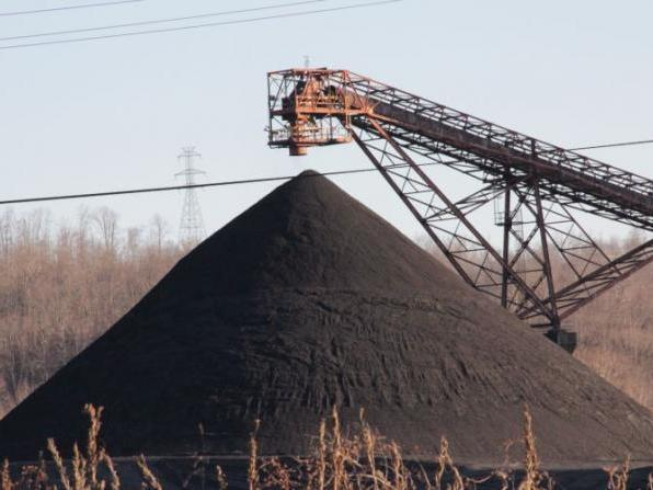 Coal stockpiled at a power plant.