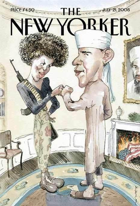 "Blitt's 2008 <em>New Yorker</em> cover, ""Fistbump: The Politics of Fear,"" was inspired by the rumors that circulated about the Obamas during that year's presidential campaign."