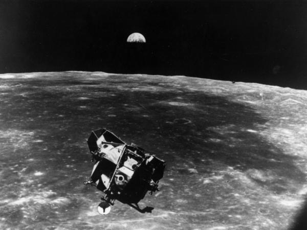 The Apollo 11 space module floating above the moon. Next-generation space queries may tend toward the political: Do the extraterrestrial beings have political action committees? Are there extraterrestrial lobbyists?