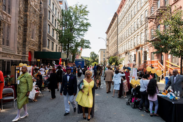 The Abyssinian Baptist Church partnered with researchers on the All of Us project, allowing them to set up an information table at a block party following a Sunday church service.