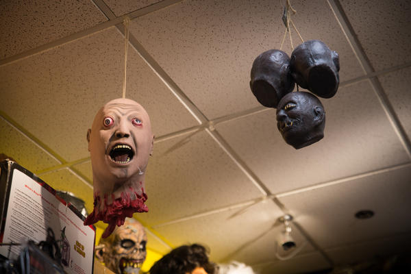 A selection of horror masks at Total Fright in Crystal City, Va.