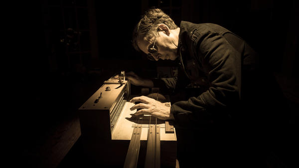 Mark Korven plays the Apprehension Engine, a frankenmachine that's designed to make spooky sounds.