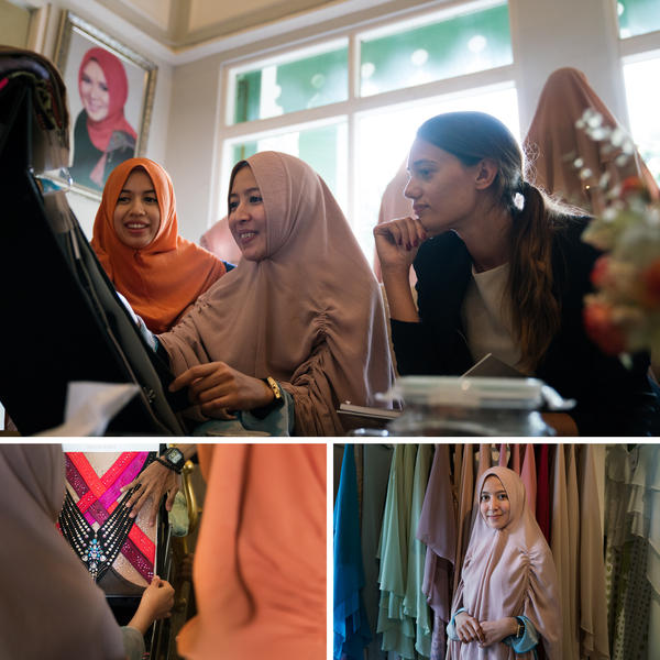 Top: Boutique owners and sisters Sansa (left) and Senaz (center) examine swatches of material and designs shown by Benedicta Citro (right), an Italian designer and Swarovski representative. Left: Senaz examines a colorful design brought by Citro. Right: Senaz says she and her siblings follow in their mother's footsteps as fashion designers.