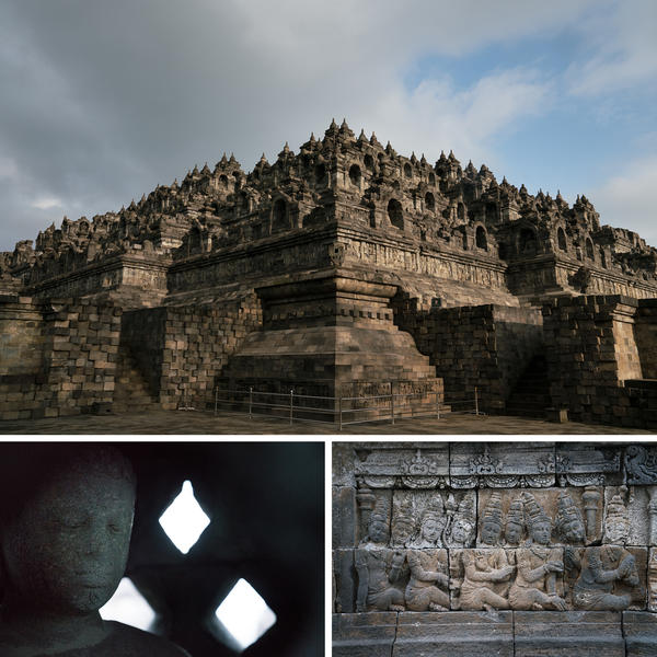 The Borobudur temple, a UNESCO World Heritage Site dating to the eighth and ninth centuries, is located in central Java.