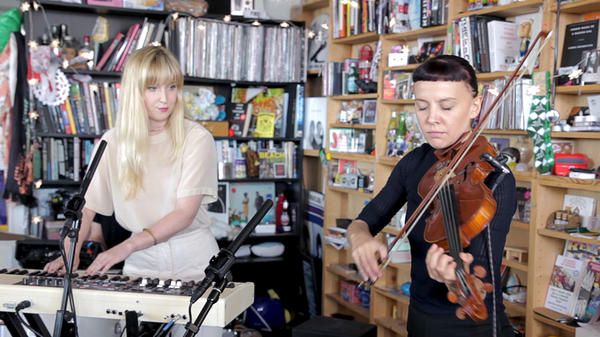 Gracie and Rachel perform a Tiny Desk Concert on Sept. 5, 2017. (Niki Walker/NPR)