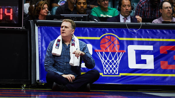 Michael Rapaport watches the action during a BIG3 basketball game at the BOK Center in Tulsa, Okla., on July 9.