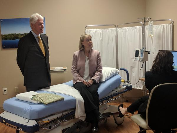 Mock patient Sally Finn helps Drug Free Duval's Susan Pittman demonstrate SBIRT at Orange Park Medical Center Tuesday