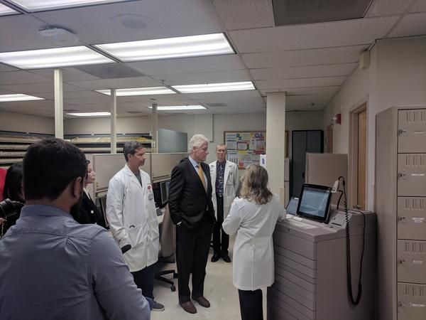 Clinton gets a crash course in how OPMC pharmacists keep track of controlled substances