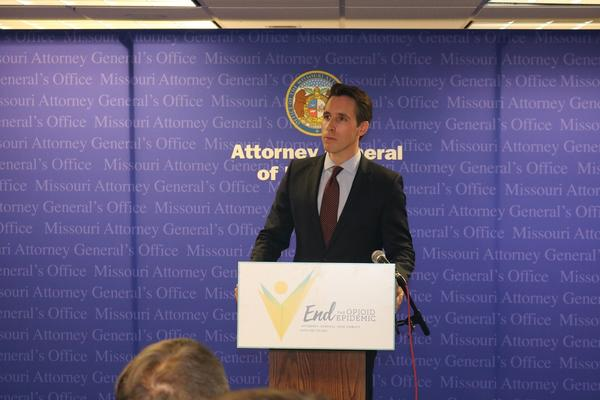Missour Attorney General Josh Hawley announces he's issuing subpoenas against three opioid distributors.
