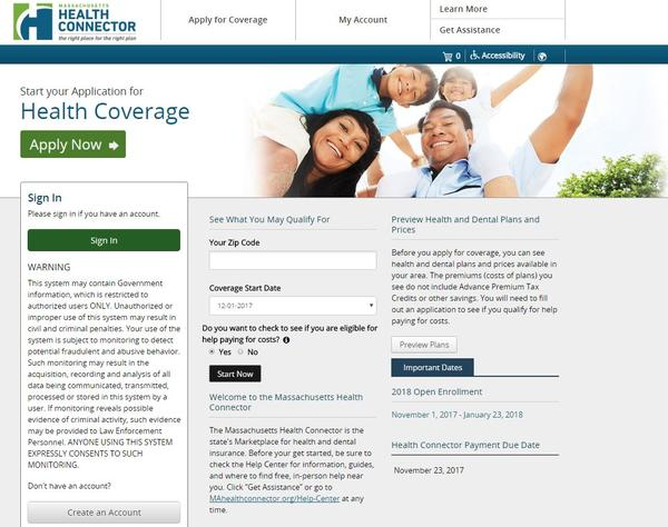 A screenshot of the Massachusetts Health Connector website, where residents can see if they qualify for coverage through the state's marketplace for health and dental insurance.