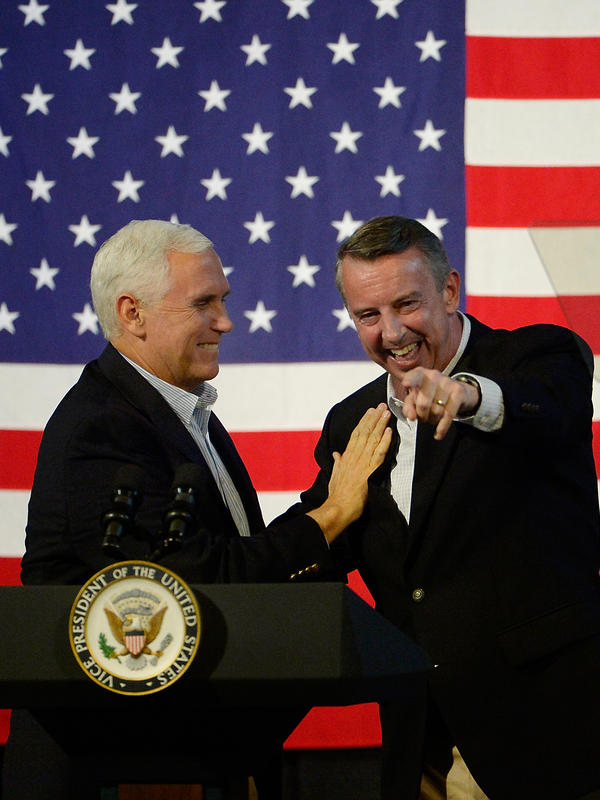 Vice President Mike Pence, left, gubernatorial candidate Ed Gillespie, R-VA, after a campaign rally in southern Virginia on October 14, 2017.