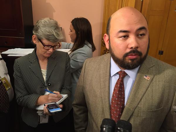 House Speaker Cliff Rosenberger (R-Clarksville) talks to reporters about harassment claims made against members and staff.
