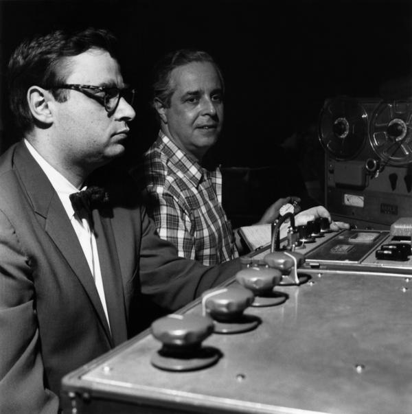 Rudy Van Gelder and Alfred Lion during the recording of <em>A Night at the Village Vanguard</em>.