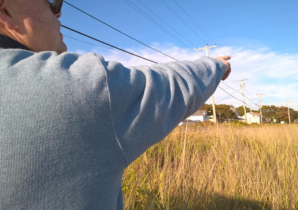 Steve Spofford, town historian in Kennebunk, Maine, stands where fires burned in 1947 along the state's coast.