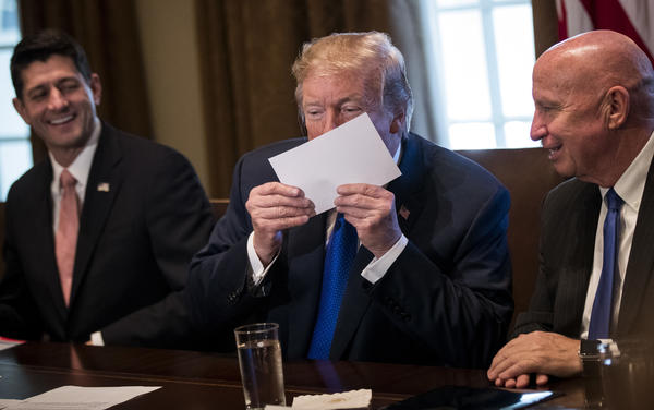 President Trump holds a sample of the Republicans' proposed postcard-size tax return.