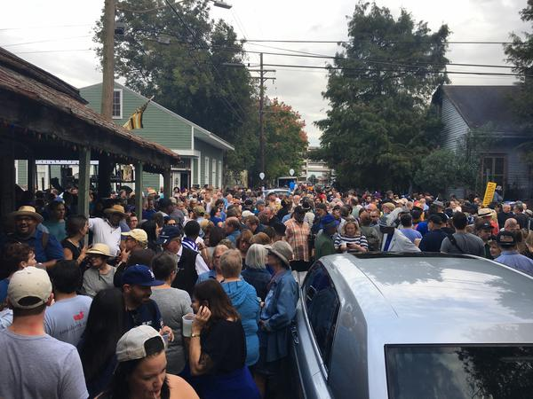 People gather ahead of the second line for Fats Domino. Domino passed away on Oct. 24.