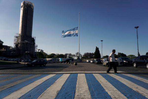 The Argentine national flag flies at half-mast in Rosario, Argentina, as a sign of mourning for the five Argentines killed in a terrorist attack in New York on October 31.