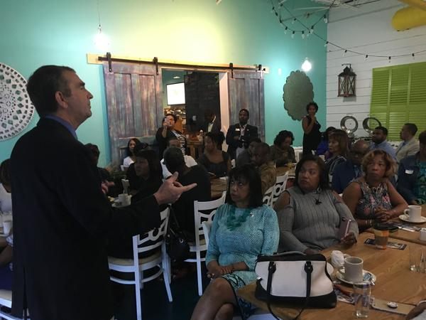 Lt. Gov. Ralph Northam speaks to business leaders in Chesapeake, Va. on Sept. 30.