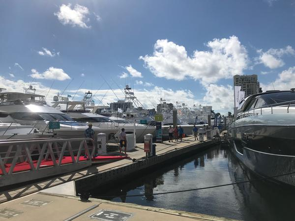 A view of some of the luxury yachts Thursday morning at the Ft. Lauderdale International Boat Show.