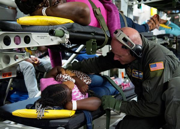 More than 500 medically needy patients and their family members have been evacuated from St. Croix, St. Thomas and Puerto Rico by the Air Mobility Command.