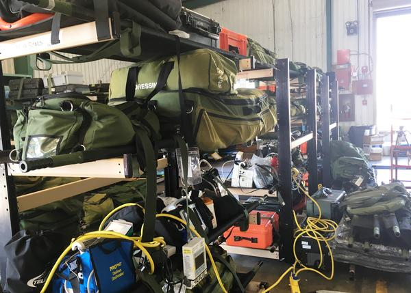 Racks of medical equipment and supplies ready for the next humanitarian flight to evacuate patients from the hurricane ravaged St. Croix, St. Thomas and Puerto Rico.