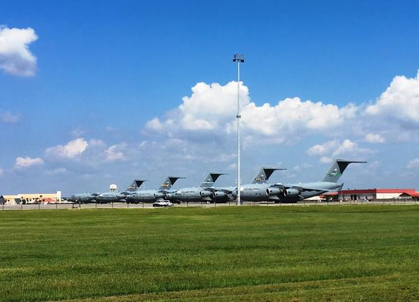 C-17 aircraft parked at MacDill AFB awaiting the next missions to St. Croix, St. Thomas and Puerto Rico to help evacuate medically needy patients and their families.