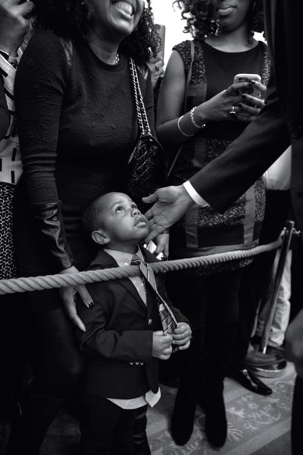 Obama greets 3-year-old Clark Reynolds at a reception celebrating African-American History Month on Feb. 18, 2016.