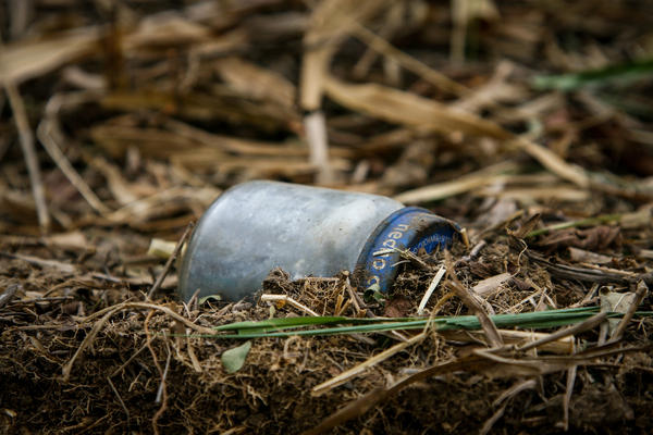 A baby-food jar packed with gunpowder and ball bearings found in a field in La Venta, Colombia. Improvised explosive devices such as this were commonly used during the decades-long conflict between the FARC rebels and the Colombian government.