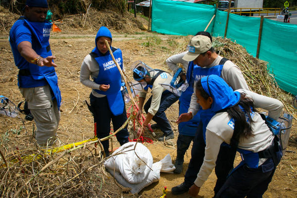 Members of Handicap International's de-mining team in Colombia debate how best to destroy an improvised explosive device that they unearthed.